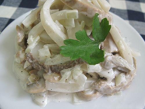 Салаты из кальмаров с грибами из