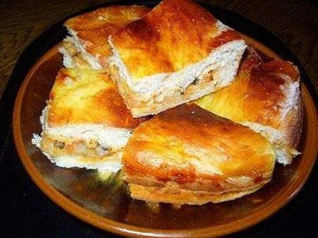 Мясной пирог с капустой и грибами