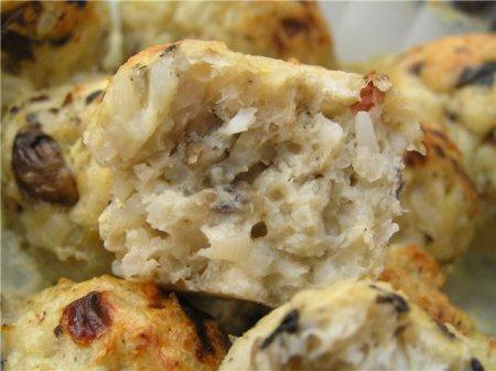 Рыбные тефтели с грибами и сыром