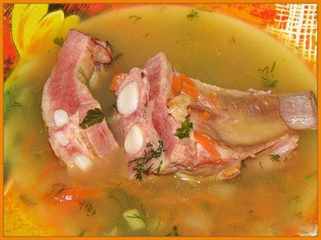 Рецепт Суп гороховый с копчеными ребрышками