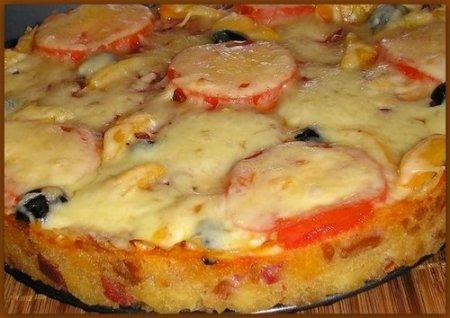 Рецепт Русская пицца (запечённый большой бутерброд)