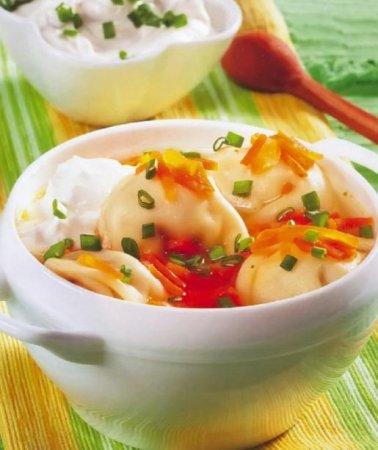 Рецепт Рецепт морковного супа с пельменями