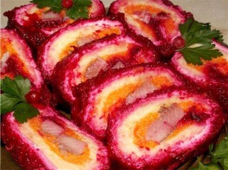 Салат-рулет селедка под шубой (Новогодний стол)