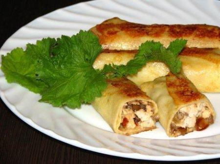 Рецепт Как приготовить блинчики с курицей и салом