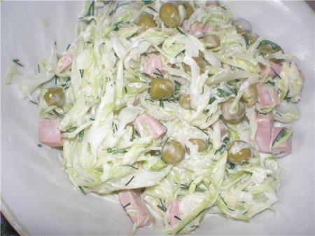 Капустный салат с горошком, рецепт.