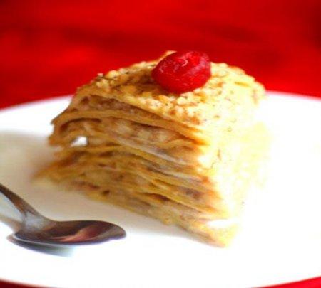 Рецепт Готовим Блинный торт с бананами