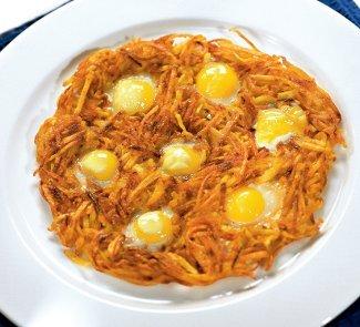 Как приготовить яичницу с картофелем
