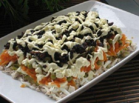 Рецепт Праздничный салат из курицы и чернослива