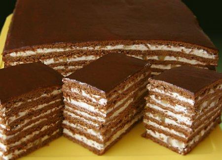 Торт  медово-шоколадно-ореховый