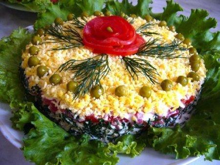 """Рецепт Слоеный салат  """"Талия"""" с курицей, грибами и помидорами"""
