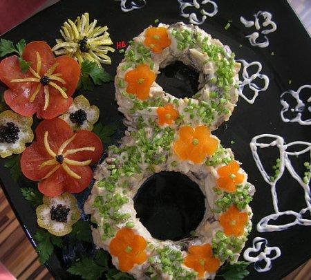 Рецепт Праздничный салат к женскому дню 8 Марта