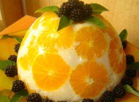 """Рецепт Желейный торт """"Апельсины в йогурте"""""""