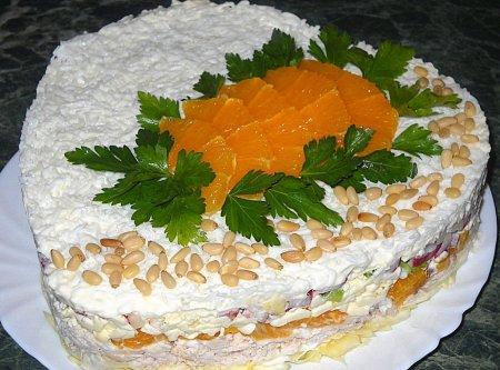 Рецепт Слоеный салат с курицей, апельсинами и плавленым сыром