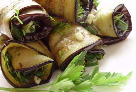 Рецепт Жареные баклажаны с чесноком и зеленью