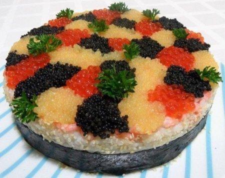 "Рецепт Торт - суши ""3 икринки"""