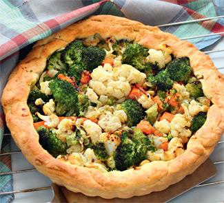 Рецепт Пирог с цветной капустой, брокколи и тыквой
