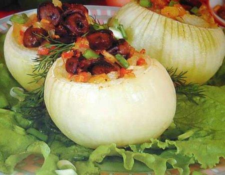 Рецепт Лук фаршированный жареными грибами