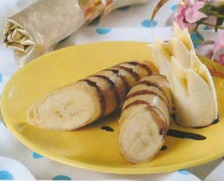 Рецепт Блинчики с бананами и карамелью