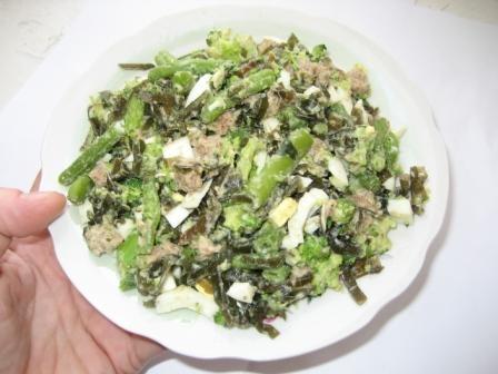 Рецепт Салат из зеленых овощей и морской капусты