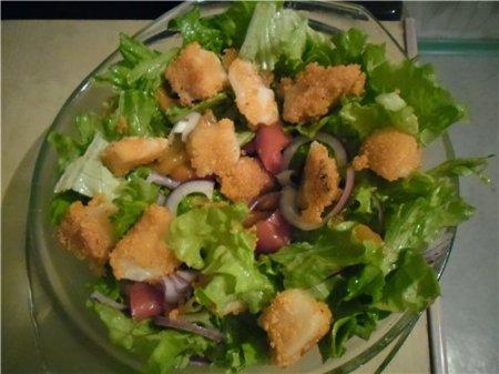 Рецепт Зеленый салат с печеным перцем и козьим сыром