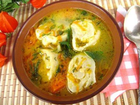 Рецепт Куриный суп с сырными рулетиками