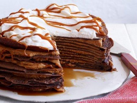 Рецепт Шоколадный блинный торт с кремом дольче де лече или вареная сгущенка