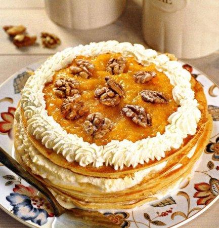 Рецепт Блинный торт с курагой