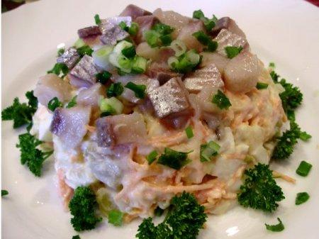 Рецепт Салат с сельдью и овощами