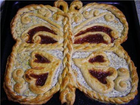 """Рецепт Пирог """"Бабочка"""" с творожным кремом и вареньем"""