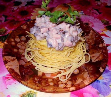 Рецепт Макаронные гнёзда с копчёной курицей и грибами в сливочном соусе
