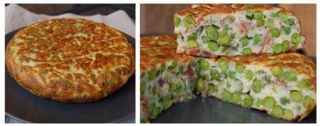 Рецепт Зеленый горошек с мятой и хамоном и испанский омлет