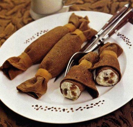 Рецепт Шоколадные блинчики с творожной начинкой