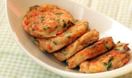 Рецепт Котлетки-оладушки с крабовым мясом и семгой