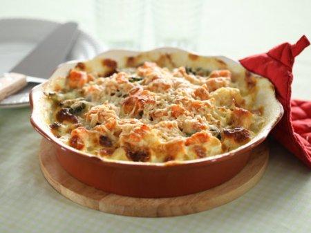 Рецепт Запеканка из семги с грибами и овощами
