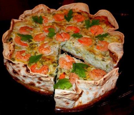 Рецепт Ленивый пирог с кабачками и креветками