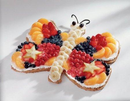 """Рецепт """"Бабочка"""" - пирог с фруктами"""