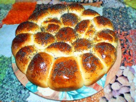 Рецепт Пирог из булочек с ветчиной и сыром