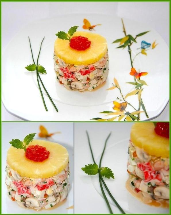 рецепты салатов с морепродуктами и грибами