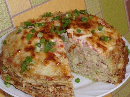 Рецепт Кабачково-сырный тортик с мясом