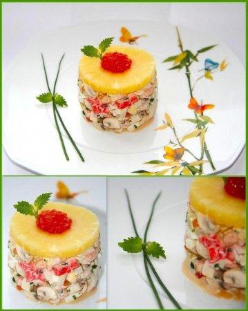 Рецепт Салат с морепродуктами, грибами и ананасом