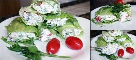 Рецепт Рулетики из листьев салата