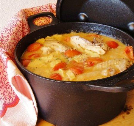 Рецепт Курица в белом вине с сыром