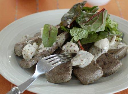 Рецепт Говяжья печень с грибами