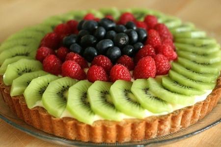 Рецепт Песочный пирог с киви и ягодами