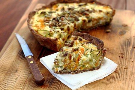Рецепт Открытый пирог (киш) с овощами и сырами