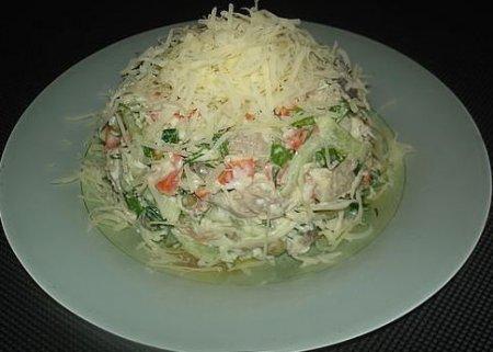 Рецепт Салат низкокаллорийный из куриного филе с сыром и апельсинами