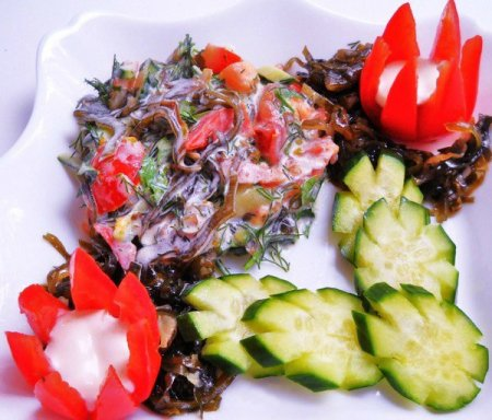 Рецепт Салат из морской капусты с тыквой и овощами «Мрак»