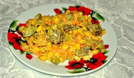 Рецепт Салат с морковью и печенью