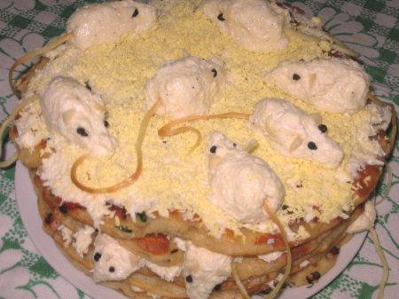 """Рецепт Закусочный торт """"Мышкин праздник"""""""
