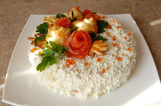 Печеночный салат или закусочный торт